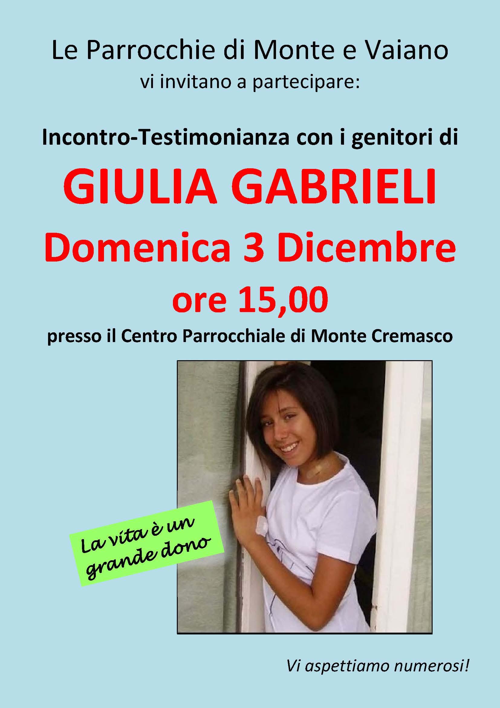 Incontro genitori GIULIA GABRIELI MONTE CREMASCO